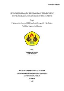 Pengaruh Pembelajaran Kewirausahaan Terhadap Minat Berwirausaha Siswa Kelas X Di Smk Negeri 10 Bandung Repo Unpas