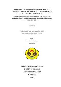 Pengaruh Good Corporate Governance Dan Pengungkapan Corporate Social Responsibility Terhadap Nilai Perusahaan Studi Pada Perusahaan Yang Terdaftar Di Bursa Efek Indonesia Yang Mengikuti Program Pemeringkatan Corporate Governance Perception Index