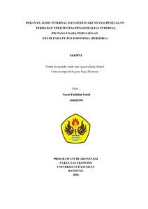 Peranan Audit Internal Dan Sistem Akuntansi Penjualan Terhadap Efektivitas Pengendalian Internal Piutang Usaha Perusahaan Studi Pada Pt Pos Indonesia Persero Repo Unpas