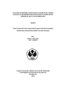 Analisis Semiotika Foto Jurnalistik Pada Media Online Suarabobotoh Com Bandung Edisi Foto Persib Juara 9 November 2014 Repo Unpas