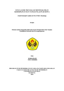 Upaya Guru Pkn Dalam Meningkatkan Kedisiplinan Dan Tanggung Jawab Siswa Studi Deskriptif Analisis Di Sma Pgri 1 Bandung Repo Unpas