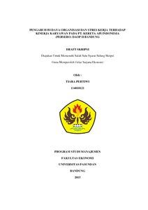 Pengaruh Budaya Organisasi Dan Stres Kerja Terhadap Kinerja Karyawan Pada Pt Kereta Api Indonesia Persero Daop Ii Bandung Repo Unpas