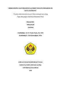 Rebranding Dan Promosi Laundry Sepatu Sneaklin Di Kota Bandung Indrayansyah 116010004 Waska Warta Dan Tata Kartasudjana Repo Unpas