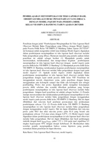 Pembelajaran Menyimpulkan Isi Teks Laporan Hasil Observasi Melalui Buku Pengetahuan Yang Dibaca Dengan Model Inquiry Pada Peserta Didik Kelas Vii Smpn 21 Bandung Tahun Ajaran 2017 2018 Repo Unpas