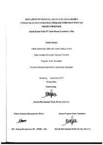 Pengaruh Penerapan Akuntansi Manajemen Lingkungan Dan Strategi Operasi Terhadap Inovasi Proses Produksi Studi Kasus Pada Pt Indo Rama Synthetics Tbk Repo Unpas