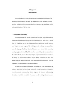 An Analysis of Student's English Worksheet Based on the