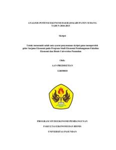 Analisis Potensi Ekonomi Daerah Kabupaten Subang Tahun 2010 2015