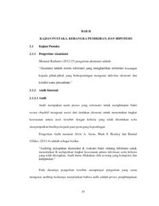 Pengaruh Audit Internal Dan Pelaksanaan Pengendalian Internal Terhadap Penerapan Good Corporate Governance Studi Pada Pt Inti Persero Bandung Repo Unpas