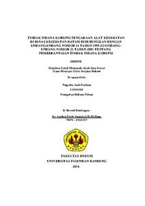 Tindak Pidana Korupsi Pengadaan Alat Kesehatan Di Dinas Kesehatan Batam Dihubungkan Dengan Undang Undang Nomor 31 Tahun 1999 Jo Undangundang Nomor 21 Tahun 2001 Tentang Pemberantasan Tindak Pidana Korupsi Repo Unpas