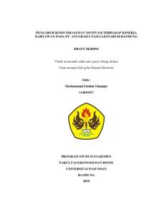 Pengaruh Komunikasi Dan Motivasi Terhadap Kinerja Karyawan Pada Pt Anugrah Utama Lestari Di Bandung Repo Unpas