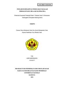 Pengaruh Kemampuan Pemecahan Masalah Terhadap Hasil Belajar Matematika Penelitian Kuantitatif Deskriptif Kelas V Sekolah Dasar Di Kecamatan Sindangkerta Kabupaten Bandung Barat Repo Unpas