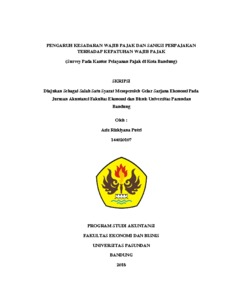 Pengaruh Kesadaran Wajib Pajak Dan Sanksi Perpajakan Terhadap Kepatuhan Wajib Pajak Survey Pada Kantor Pelayanan Pajak Di Kota Bandung Skripsi Repo Unpas