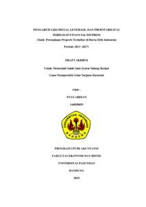 Pengaruh Likuiditas Leverage Dan Profitabilitas Terhadap Financial Distress Studi Perusahaan Properti Terdaftar Di Bursa Efek Indonesia Periode 2013 2017 Repo Unpas