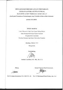 Pengaruh Kondisi Keuangan Perusahaan Ukuran Kantor Akuntan Publik Dan Opini Audit Terhadap Audit Delay Studi Pada Perusahaan Pertambangan Yang Terdaftar Di Bursa Efek Indonesia Periode 2015 2018 Repo Unpas