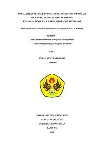 Pengaruh Kualitas Layanan Kualitas Sistem Informasi Dan Kualitas Informasi Terhadap Kepuasan Pengguna Sistem Informasi Akuntansi Studi Pada Kantor Pelayanan Perbendaharaan Negara Kppn Di Bandung Repo Unpas
